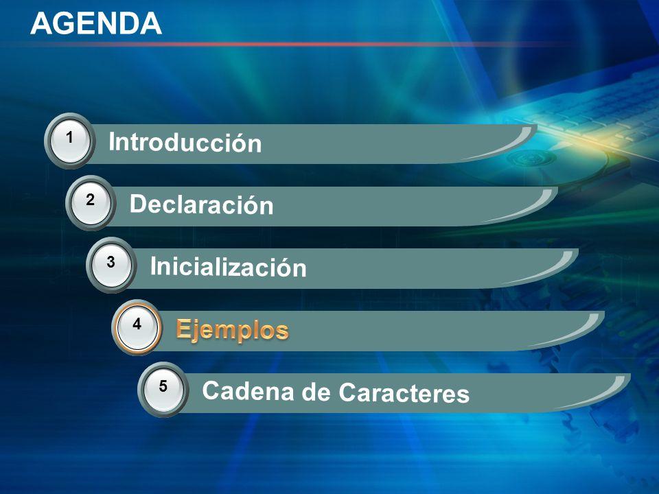 AGENDA 1 Introducción 2 Declaración 3 Inicialización 4 Ejemplos 5 Cadena de Caracteres 4