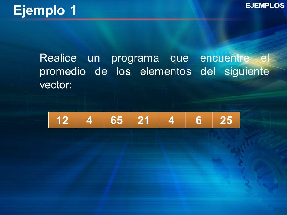 Ejemplo 1 Realice un programa que encuentre el promedio de los elementos del siguiente vector: EJEMPLOS
