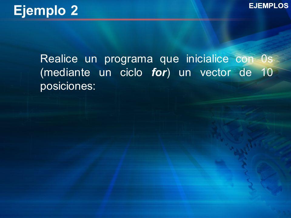 Ejemplo 2 Realice un programa que inicialice con 0s (mediante un ciclo for) un vector de 10 posiciones: EJEMPLOS