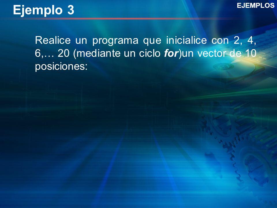 Ejemplo 3 Realice un programa que inicialice con 2, 4, 6,… 20 (mediante un ciclo for)un vector de 10 posiciones: EJEMPLOS