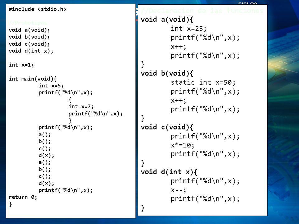 Zona de Preguntas… Funciones en C CICLOS #include //Prototipos void a(void); void b(void); void c(void); void d(int x); int x=1; int main(void){ int x=5; printf( %d\n ,x); { int x=7; printf( %d\n ,x); } printf( %d\n ,x); a(); b(); c(); d(x); a(); b(); c(); d(x); printf( %d\n ,x); return 0; } //Declaracion de las funciones void a(void){ int x=25; printf( %d\n ,x); x++; printf( %d\n ,x); } void b(void){ static int x=50; printf( %d\n ,x); x++; printf( %d\n ,x); } void c(void){ printf( %d\n ,x); x*=10; printf( %d\n ,x); } void d(int x){ printf( %d\n ,x); x--; printf( %d\n ,x); }
