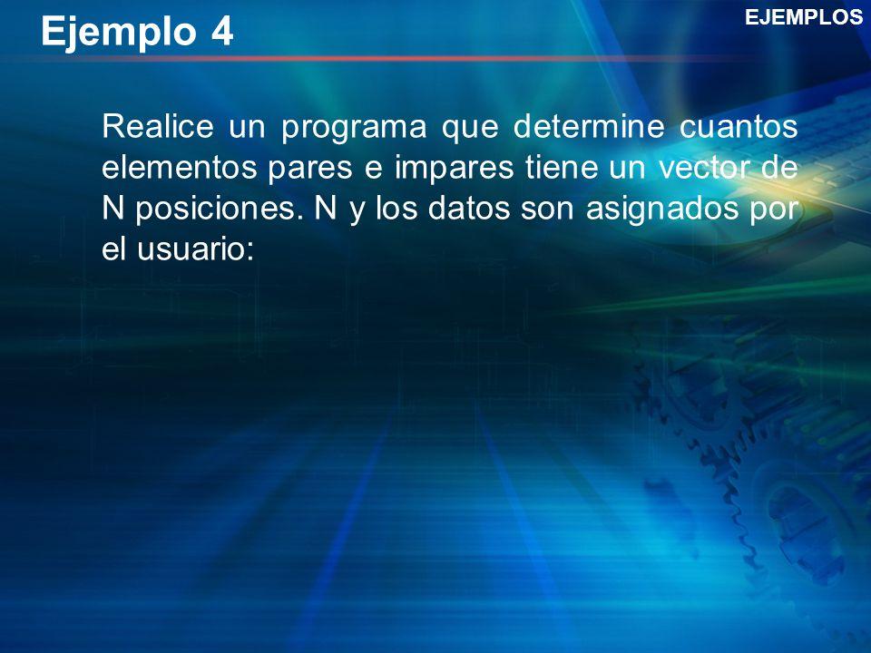Ejemplo 4 Realice un programa que determine cuantos elementos pares e impares tiene un vector de N posiciones.