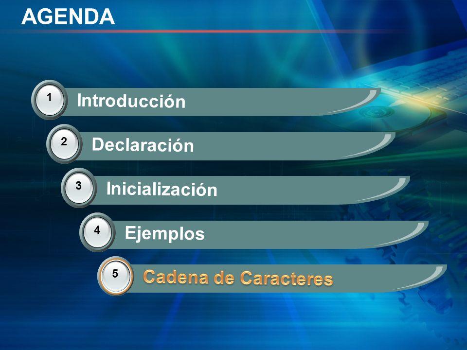 AGENDA 1 Introducción 2 Declaración 3 Inicialización 4 Ejemplos 5 Cadena de Caracteres 5