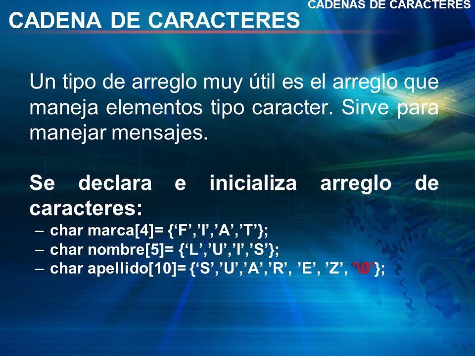 CADENA DE CARACTERES Un tipo de arreglo muy útil es el arreglo que maneja elementos tipo caracter.