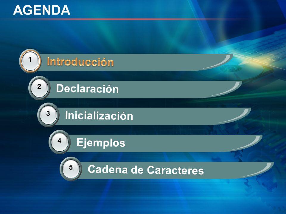 AGENDA 1 Introducción 2 Declaración 3 Inicialización 14 Ejemplos 5 Cadena de Caracteres