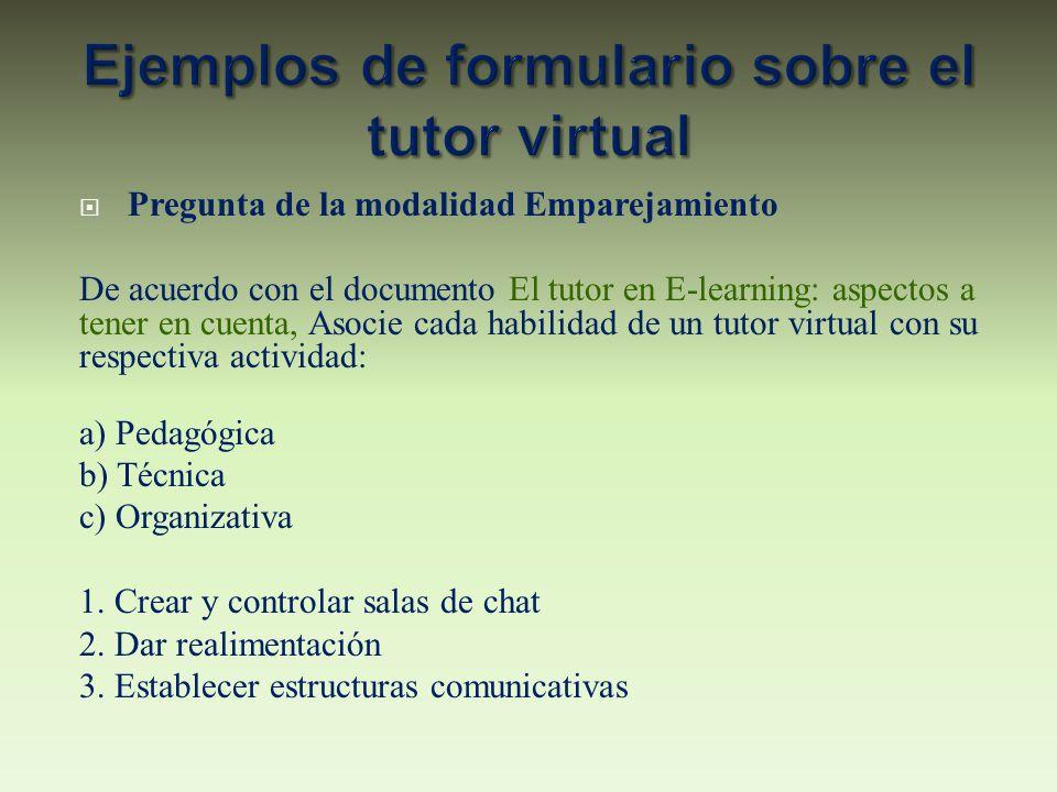 Pregunta de la modalidad Emparejamiento De acuerdo con el documento El tutor en E-learning: aspectos a tener en cuenta, Asocie cada habilidad de un tu