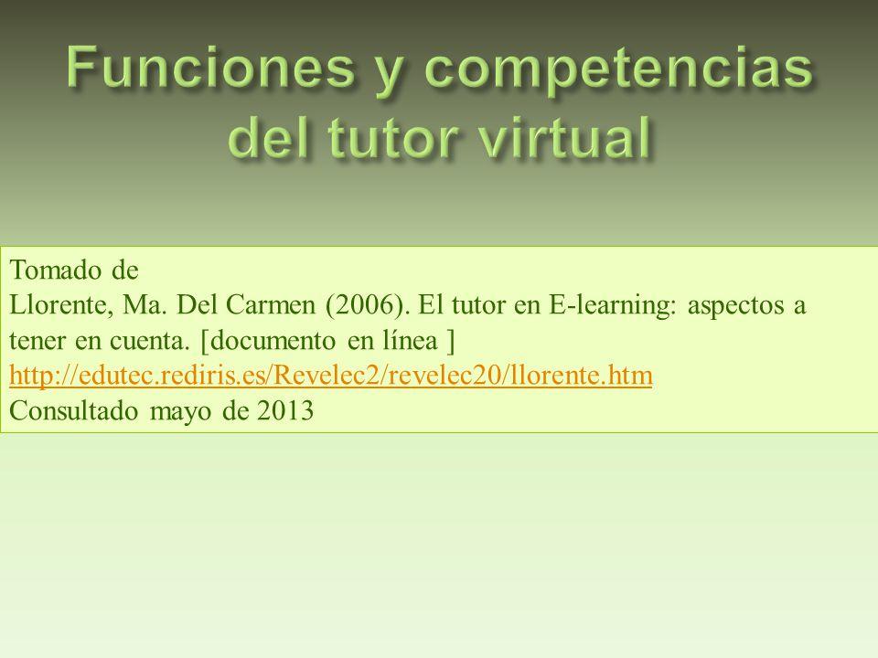 Tomado de Llorente, Ma. Del Carmen (2006). El tutor en E-learning: aspectos a tener en cuenta. [documento en línea ] http://edutec.rediris.es/Revelec2