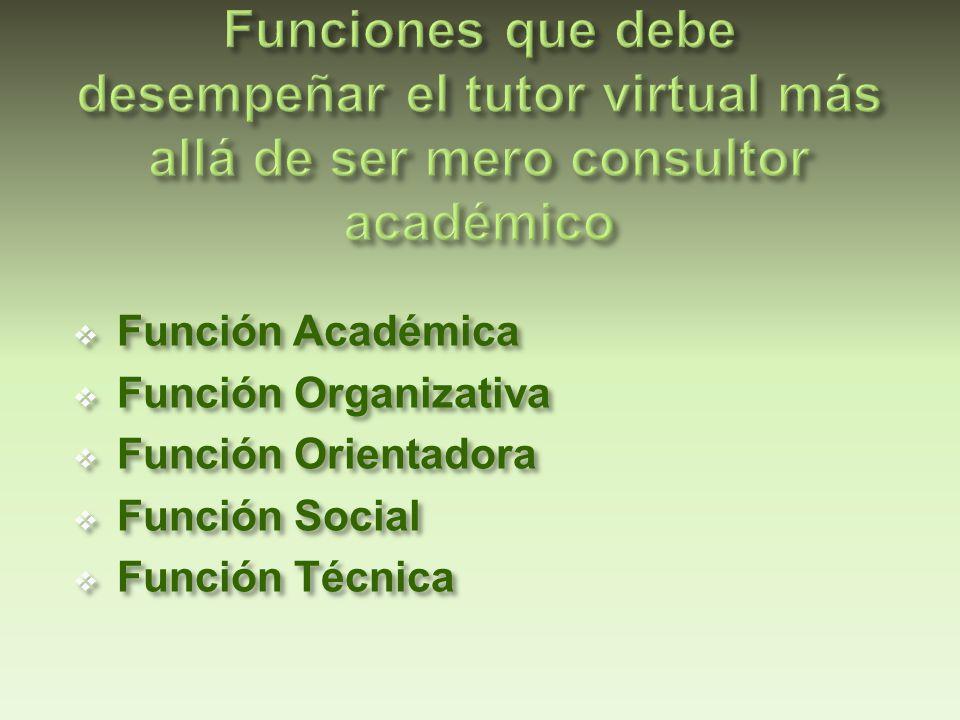 FUNCIÓN COMPETENCIAS Académica Dar información, extender, clarificar y explicar los contenidos presentados.