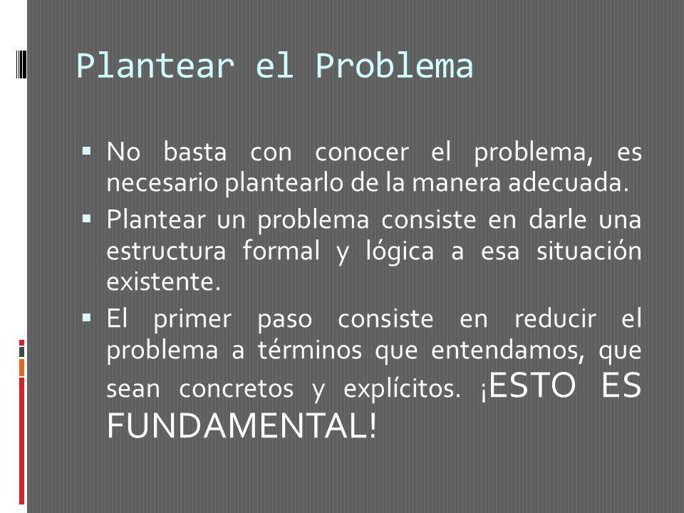 Plantear el Problema No basta con conocer el problema, es necesario plantearlo de la manera adecuada. Plantear un problema consiste en darle una estru