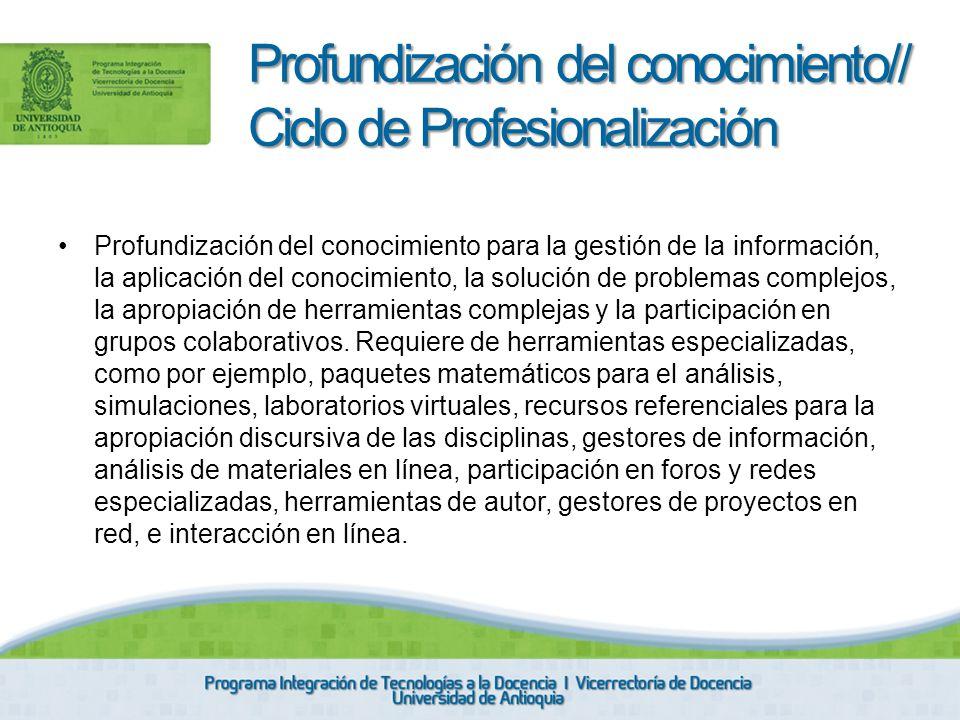 Profundización del conocimiento para la gestión de la información, la aplicación del conocimiento, la solución de problemas complejos, la apropiación