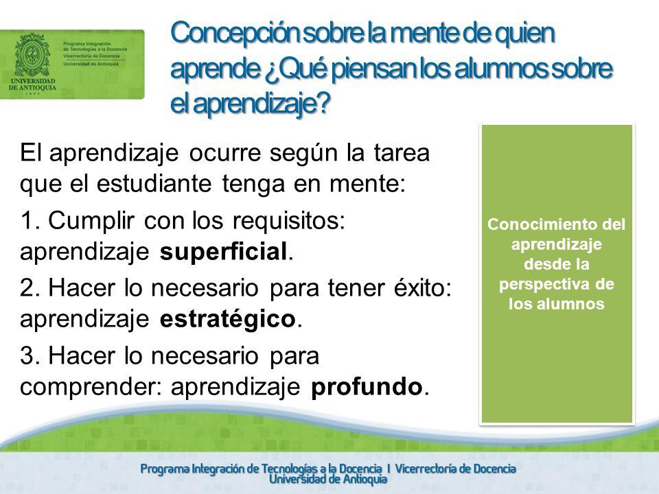El aprendizaje ocurre según la tarea que el estudiante tenga en mente: 1. Cumplir con los requisitos: aprendizaje superficial. 2. Hacer lo necesario p