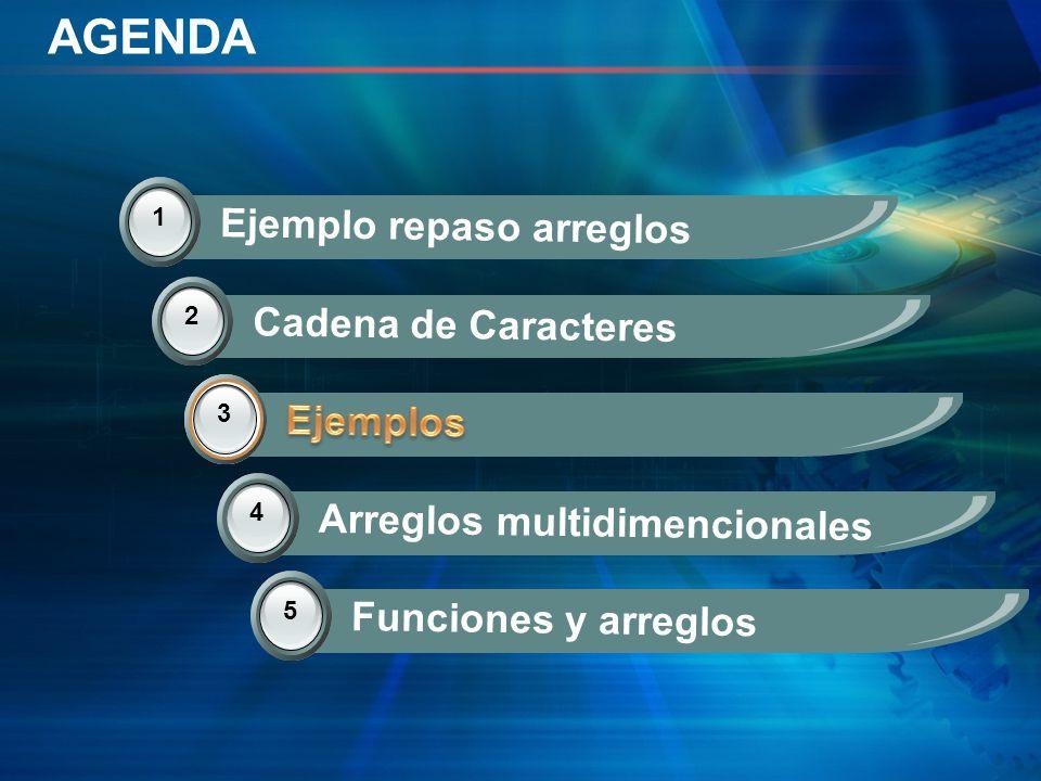 AGENDA 2 Cadena de Caracteres 3 Ejemplos 4 Arreglos multidimencionales 1 Ejemplo repaso arreglos 5 Funciones y arreglos 3