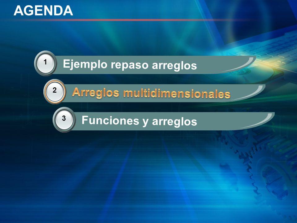 AGENDA 2 Arreglos multidimensionales 3 Funciones y arreglos 1 Ejemplo repaso arreglos 2