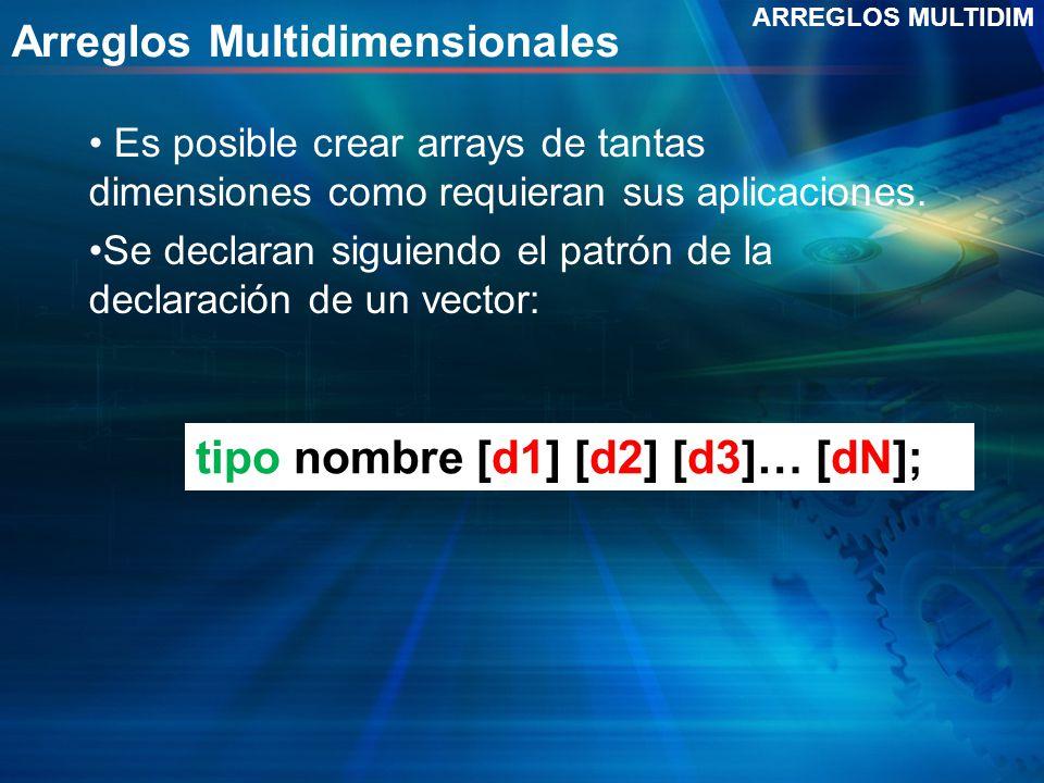Arreglos Multidimensionales Es posible crear arrays de tantas dimensiones como requieran sus aplicaciones. Se declaran siguiendo el patrón de la decla