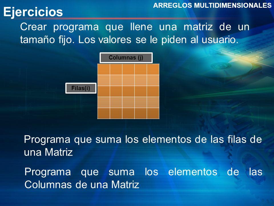 Ejercicios ARREGLOS MULTIDIMENSIONALES Crear programa que llene una matriz de un tamaño fijo. Los valores se le piden al usuario. Filas(i) Columnas (j
