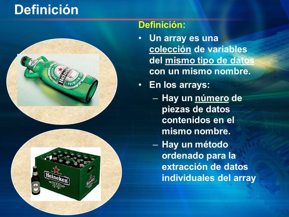 Definición: Un array es una colección de variables del mismo tipo de datos con un mismo nombre. En los arrays: –Hay un número de piezas de datos conte