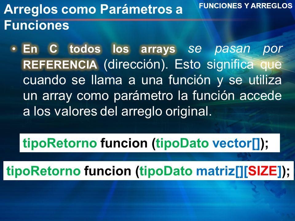 Arreglos como Parámetros a Funciones FUNCIONES Y ARREGLOS tipoRetorno funcion (tipoDato vector[]); tipoRetorno funcion (tipoDato matriz[][SIZE]);