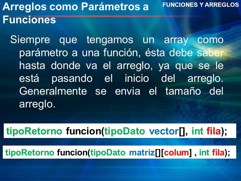 Arreglos como Parámetros a Funciones Siempre que tengamos un array como parámetro a una función, ésta debe saber hasta donde va el arreglo, ya que se