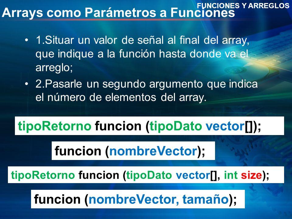 Arrays como Parámetros a Funciones 1.Situar un valor de señal al final del array, que indique a la función hasta donde va el arreglo; 2.Pasarle un seg