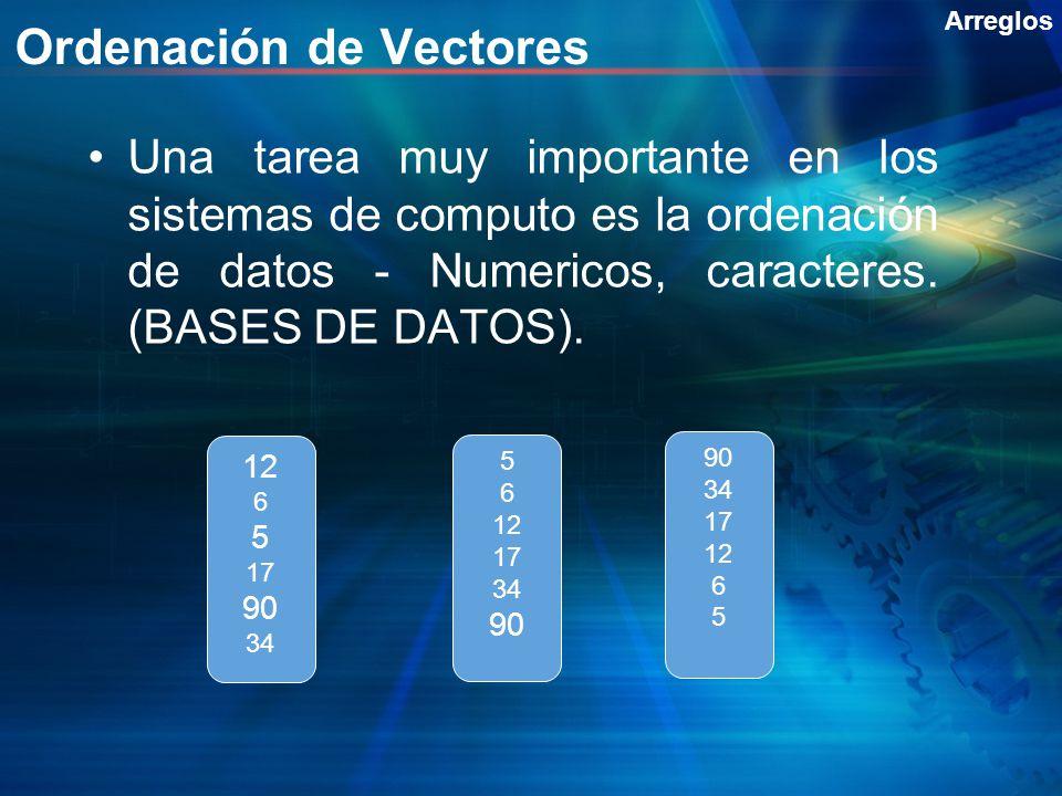 Ordenación de Vectores Una tarea muy importante en los sistemas de computo es la ordenación de datos - Numericos, caracteres. (BASES DE DATOS). Arregl