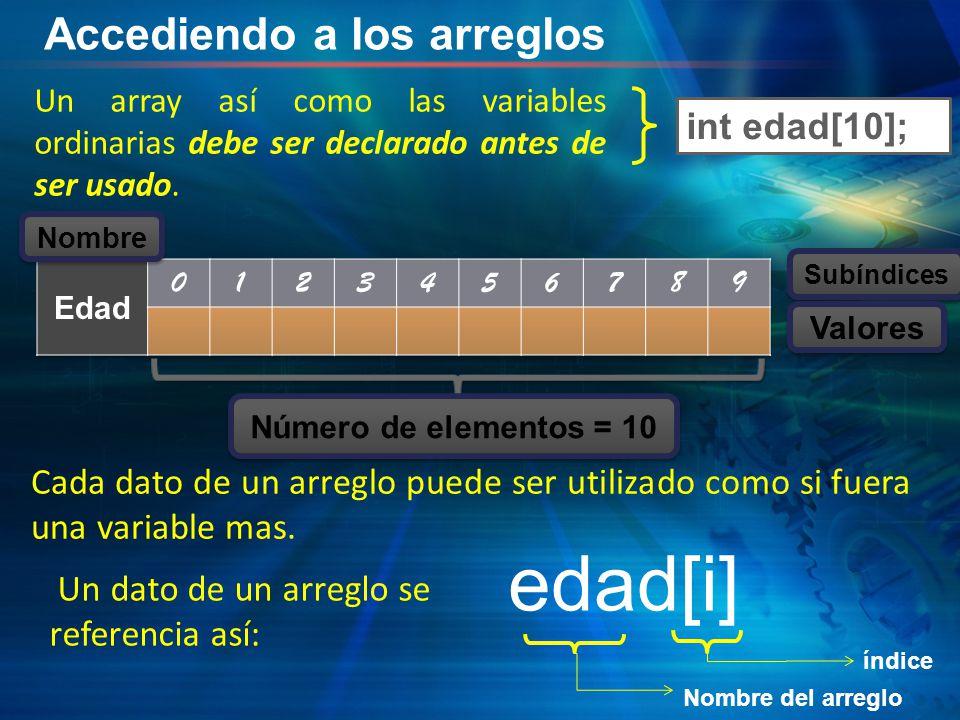 Accediendo a los arreglos Un array así como las variables ordinarias debe ser declarado antes de ser usado. edad[i] índice Nombre del arreglo int edad