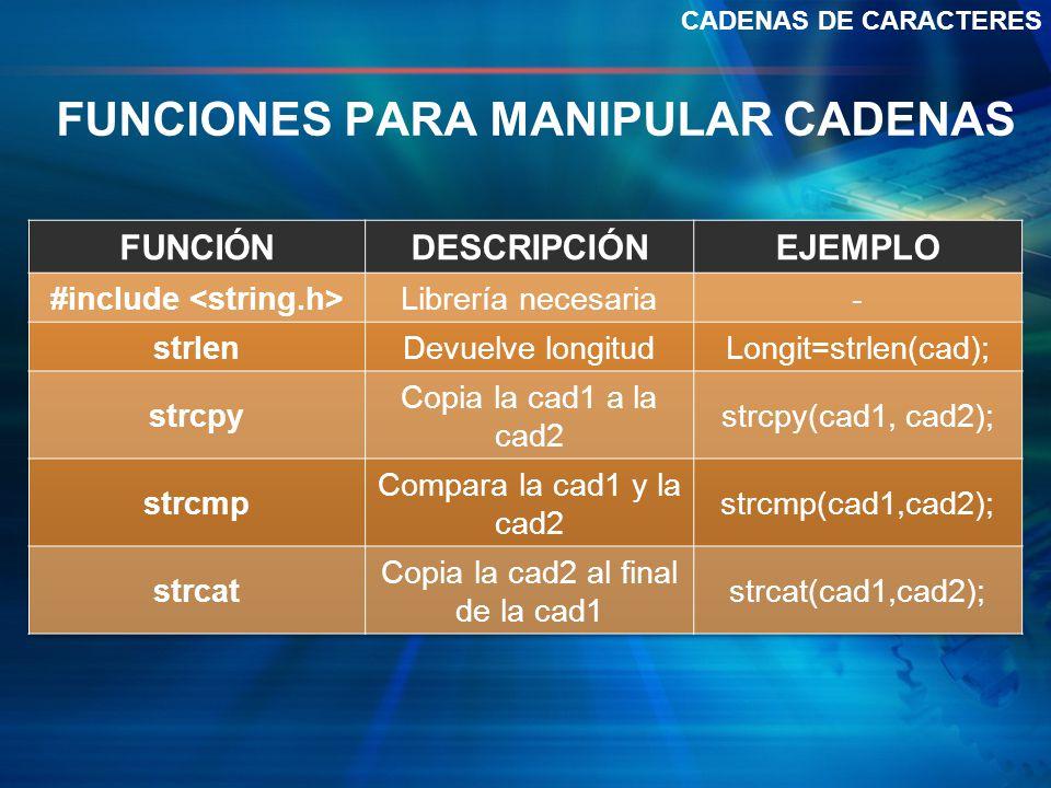 FUNCIONES PARA MANIPULAR CADENAS CADENAS DE CARACTERES