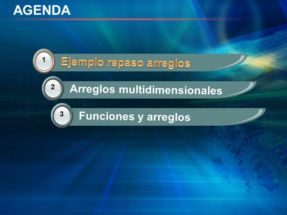 AGENDA 2 Arreglos multidimensionales 3 Funciones y arreglos 1 Ejemplo repaso arreglos 1