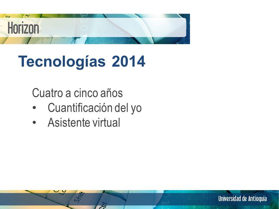Tecnologías 2014 Cuatro a cinco años Cuantificación del yo Asistente virtual 10