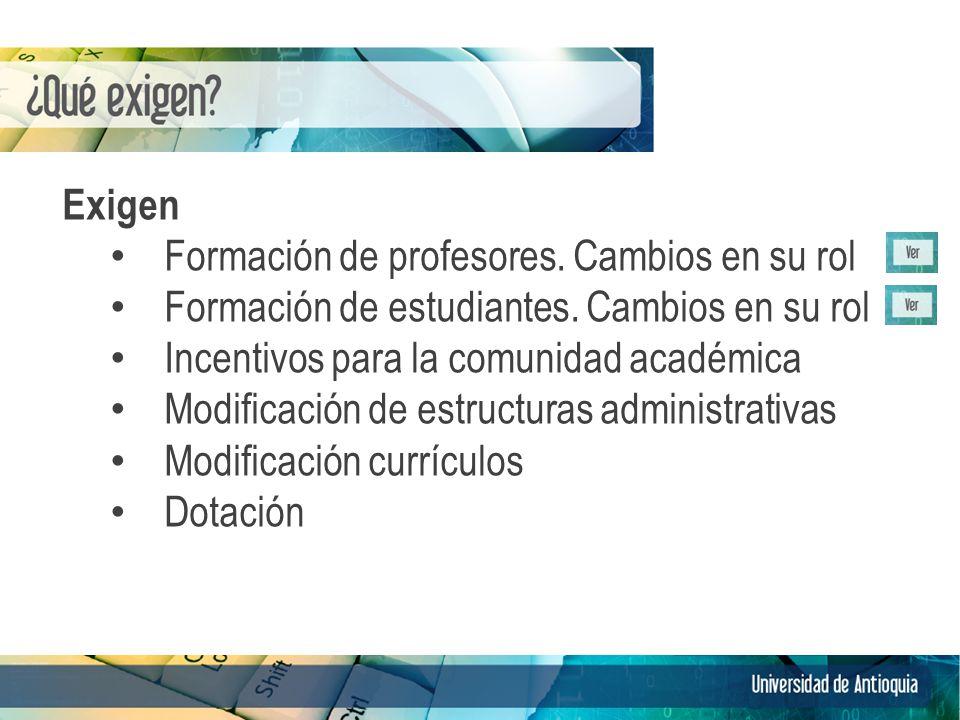 Exigen Formación de profesores. Cambios en su rol Formación de estudiantes.