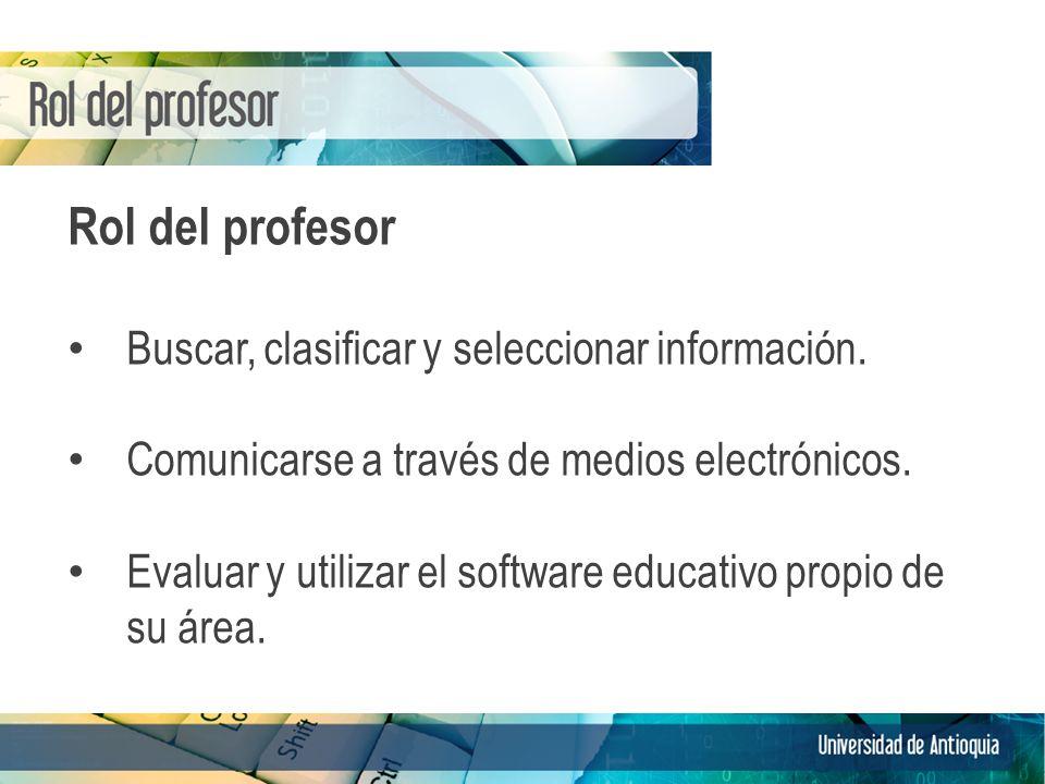 Rol del profesor Buscar, clasificar y seleccionar información. Comunicarse a través de medios electrónicos. Evaluar y utilizar el software educativo p