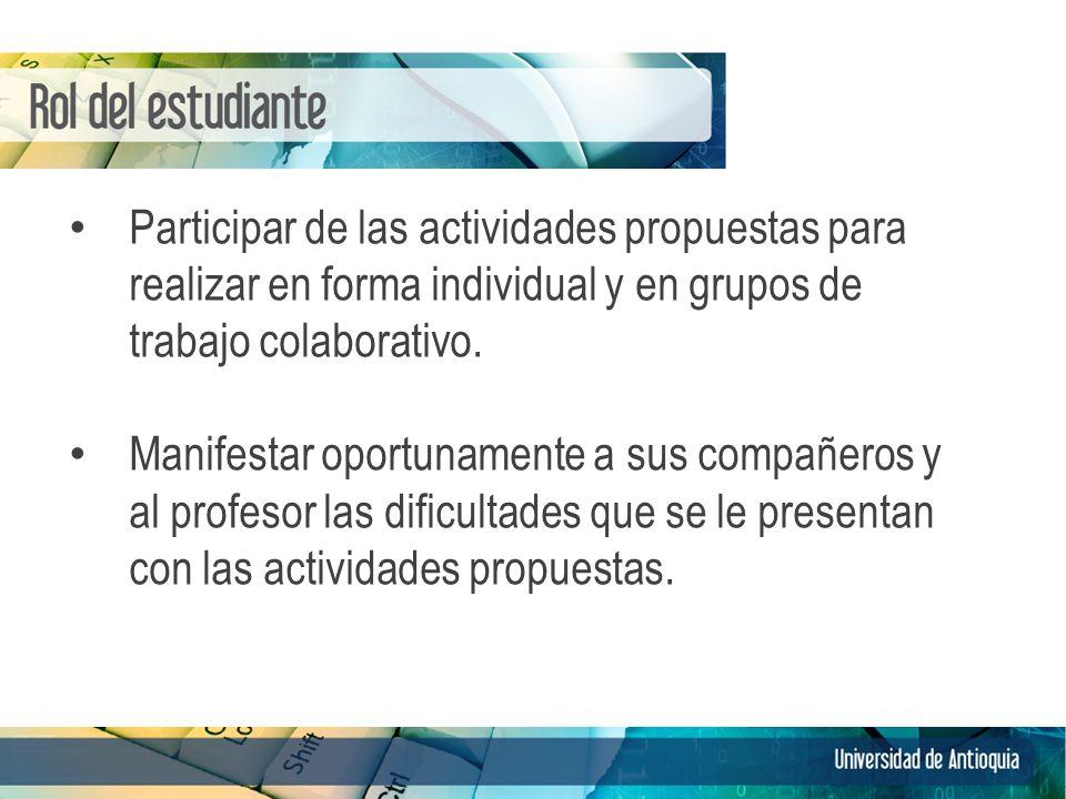 Participar de las actividades propuestas para realizar en forma individual y en grupos de trabajo colaborativo. Manifestar oportunamente a sus compañe