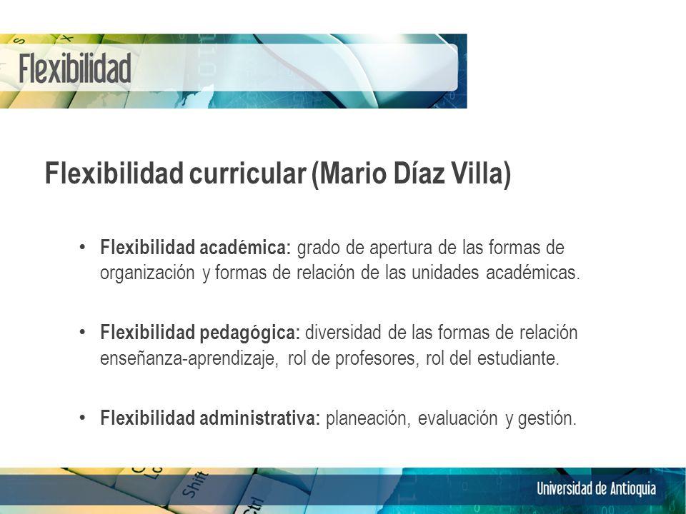 Flexibilidad curricular (Mario Díaz Villa) Flexibilidad académica: grado de apertura de las formas de organización y formas de relación de las unidades académicas.