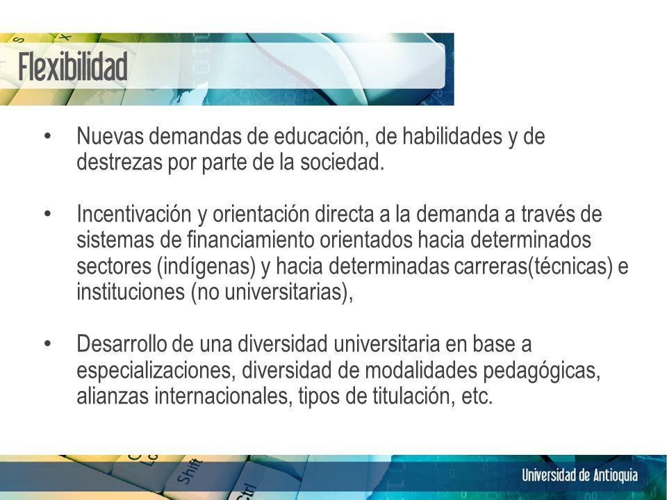 Nuevas demandas de educación, de habilidades y de destrezas por parte de la sociedad. Incentivación y orientación directa a la demanda a través de sis