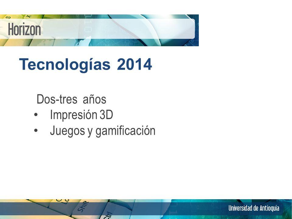 Tecnologías 2014 Dos-tres años Impresión 3D Juegos y gamificación 9