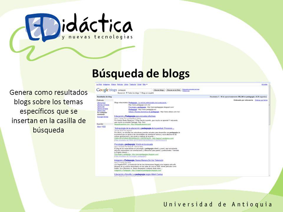 Genera como resultados blogs sobre los temas específicos que se insertan en la casilla de búsqueda Búsqueda de blogs