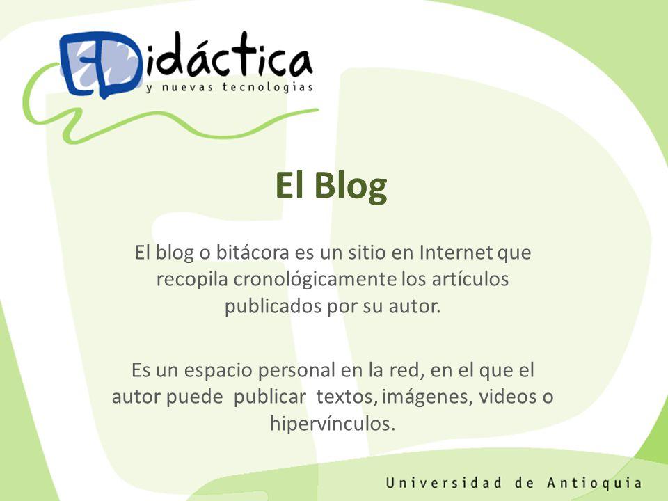 El Blog Es un espacio pensado para utilizarse como bitácora o diario en línea que el administrador usa para informar sobre un tema específico, compartir información o debatir sobre un tema de interés con otras personas.