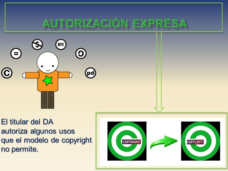 El titular del DA autoriza algunos usos que el modelo de copyright no permite.