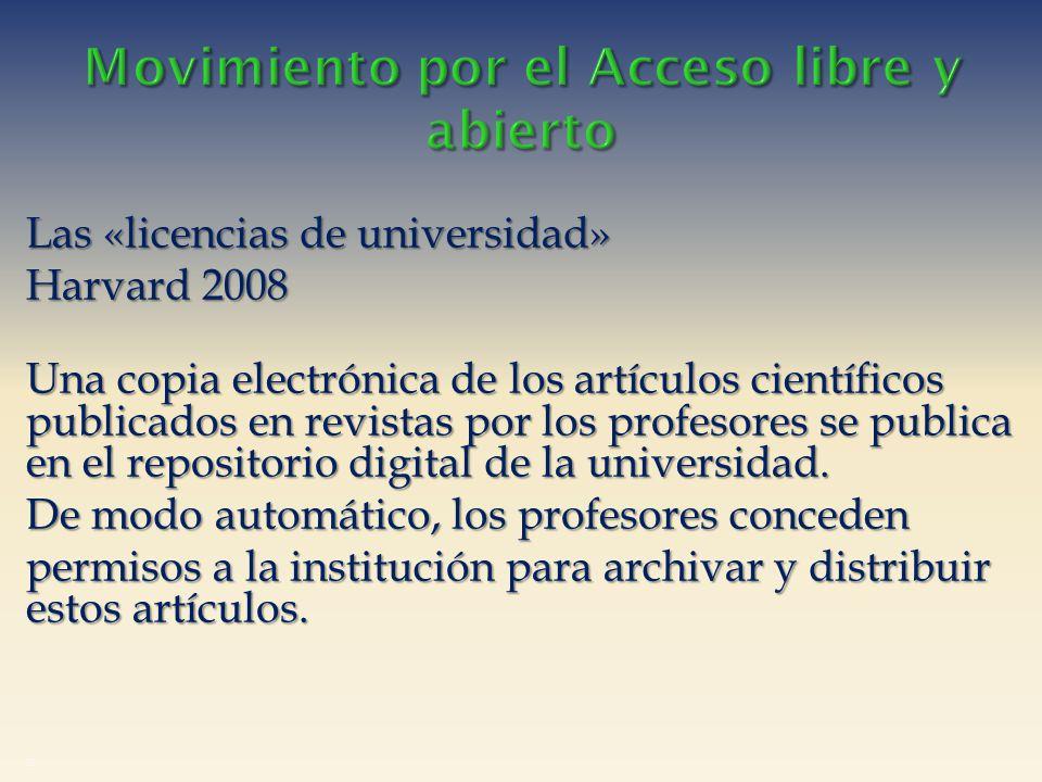 Las «licencias de universidad» Harvard 2008 Una copia electrónica de los artículos científicos publicados en revistas por los profesores se publica en el repositorio digital de la universidad.