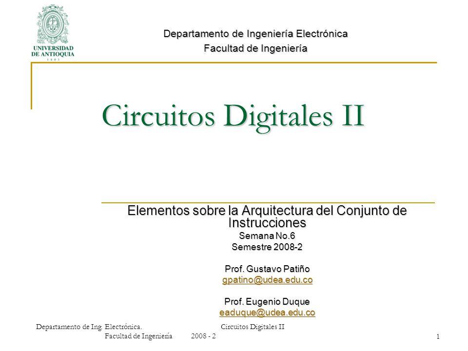 Circuitos Digitales II Elementos sobre la Arquitectura del Conjunto de Instrucciones Semana No.6 Semestre 2008-2 Prof. Gustavo Patiño gpatino@udea.edu