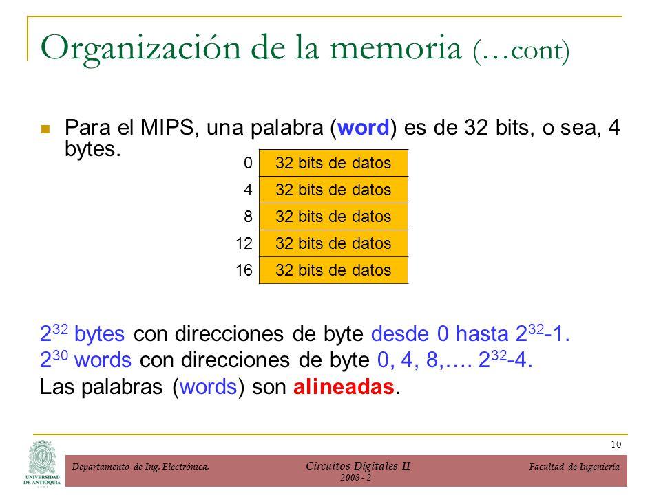 Para el MIPS, una palabra (word) es de 32 bits, o sea, 4 bytes. 2 32 bytes con direcciones de byte desde 0 hasta 2 32 -1. 2 30 words con direcciones d