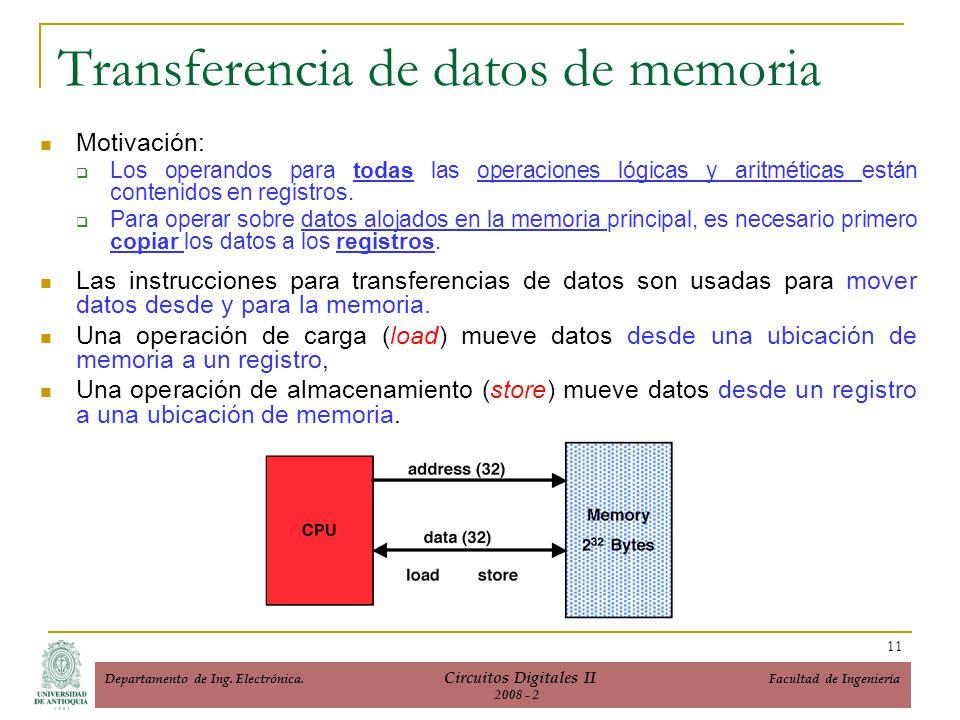 Transferencia de datos de memoria Motivación: Los operandos para todas las operaciones lógicas y aritméticas están contenidos en registros. Para opera