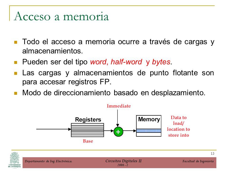Acceso a memoria Todo el acceso a memoria ocurre a través de cargas y almacenamientos. Pueden ser del tipo word, half-word y bytes. Las cargas y almac