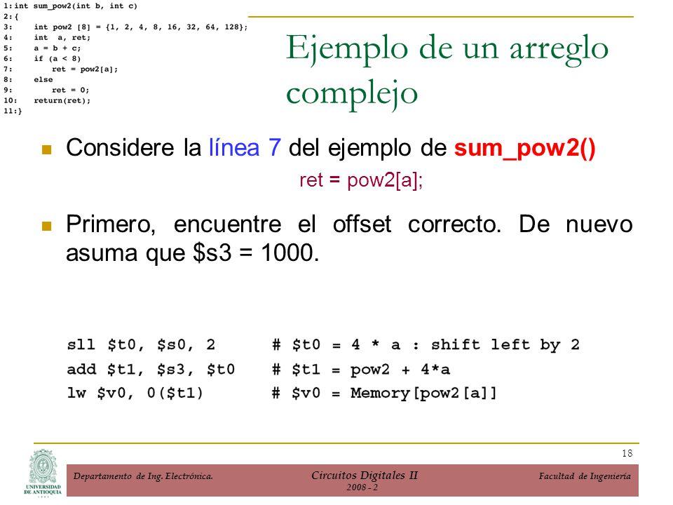 Ejemplo de un arreglo complejo Considere la línea 7 del ejemplo de sum_pow2() ret = pow2[a]; Primero, encuentre el offset correcto. De nuevo asuma que