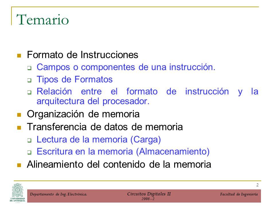 Formato de Instrucciones Campos o componentes de una instrucción. Tipos de Formatos Relación entre el formato de instrucción y la arquitectura del pro