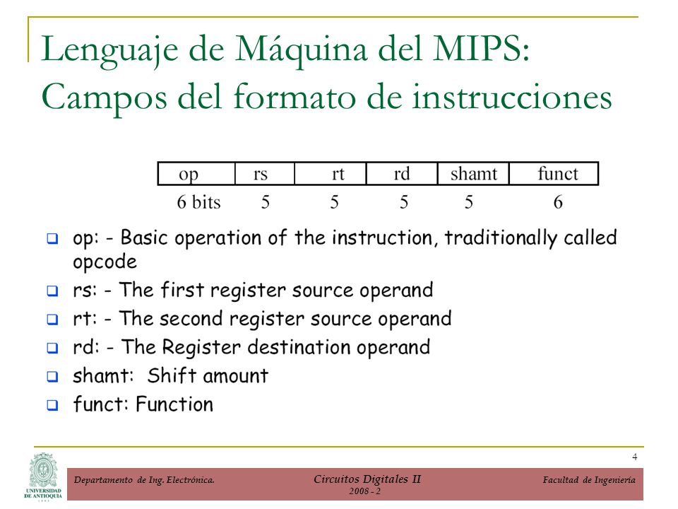 Lenguaje de Máquina del MIPS (…cont) Instructions, like registers and words of data, are also 32 bits long Example: add $t0, $s1, $s2 registers have numbers, $t0=8, $s1=17, $s2=18 Instruction Format: 00000010001100100100000000100000 op rs rt rd shamt funct Can you guess what the field names stand for.