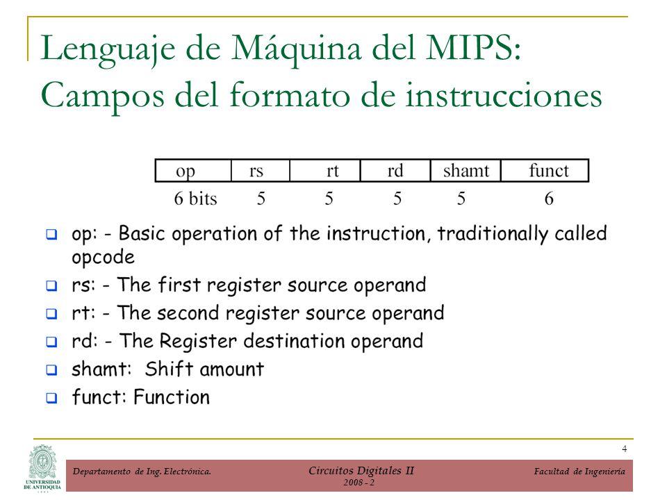 Lenguaje de Máquina del MIPS: Campos del formato de instrucciones 4 Departamento de Ing. Electrónica. Circuitos Digitales II Facultad de Ingeniería 20
