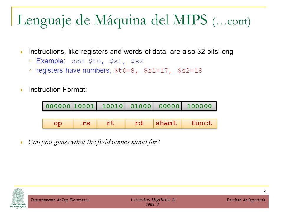 Formatos de Instrucción del ISA del MIPS 6 Departamento de Ing.