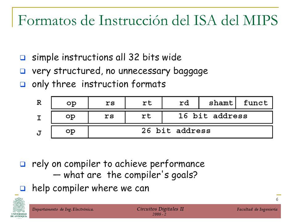 Formatos de Instrucción del ISA del MIPS 6 Departamento de Ing. Electrónica. Circuitos Digitales II Facultad de Ingeniería 2008 - 2