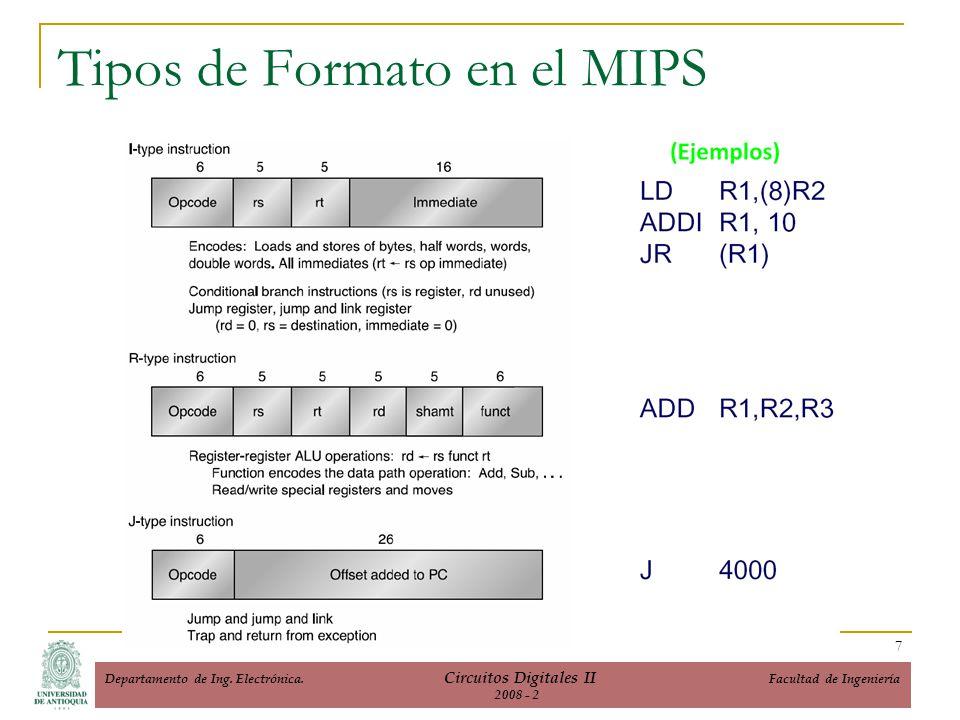 Tipos de Formato en el MIPS 7 Departamento de Ing. Electrónica. Circuitos Digitales II Facultad de Ingeniería 2008 - 2