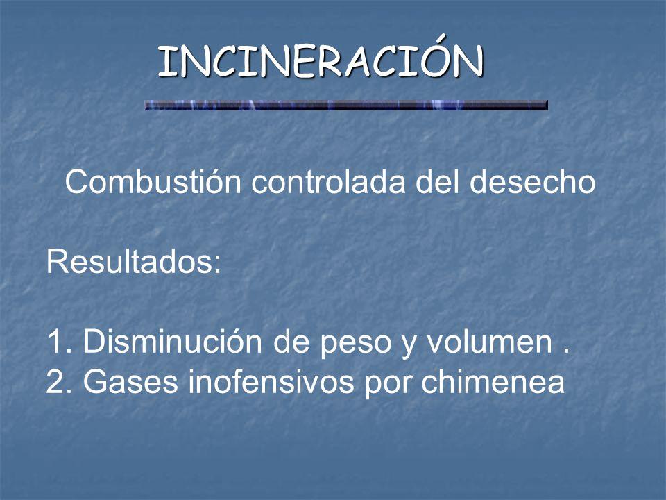 INCINERACIÓN Combustión controlada del desecho Resultados: 1.